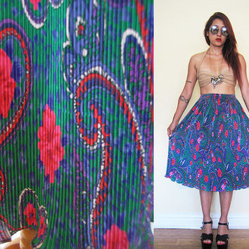 Vintage 80's blue emerald pleated paisley print midi skirt