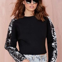 Joa Melane Sequin Neoprene Top