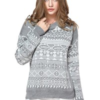TopStyliShop Women's Stripes and Rhombus Pattern Round Neck Grey Sweater S1030