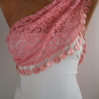 Pink Lace Scarf- Shawl Headband Cowl with Lace Edge