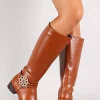 Rhinestone Ornament Almond Toe Knee High Riding Boot