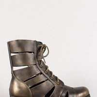 Bumper Freda-50 Metallic Cut Out Military Lace Up Boot