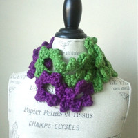 Ship from U.S.A Hand Crochet Lace Floral Scarf-Lariat with Flowers-Deep Purple Avocado Irish Green