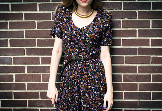 Vintage 90s Grunge Brown Purple Orange Floral Button Up Jumpsuit Playsuit Romper
