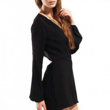Pleat Wrap Open Back Romper in Black