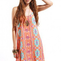 Urban Tribal Tail Back Cami Dress in Coral
