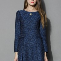 Daisy Jacquard Panel Dress in Navy