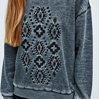 Staring at Stars Geometric Placement Sweatshirt in Grey - Urban Outfitters