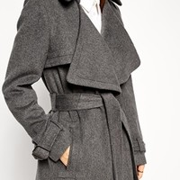 ASOS Coat with Waterfall Front in Brushed Wool