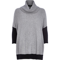 Grey cowl neck jumper - jumpers - knitwear - women