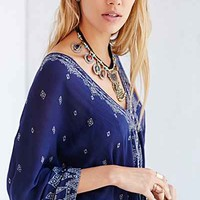 Ecote Crinkled Printed Kaftan Dress - Urban Outfitters