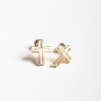 Cut Out Cross Stud Earrings