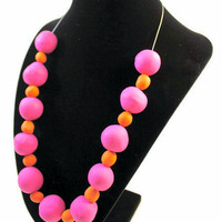 "Statement Necklace: ""April"" Pink & Orange Beaded Necklace"