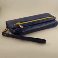 Flap Wristlet, Faux Leather, Syntethic Navy Leather