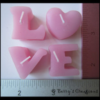 Small Cute Tiny Pink Individual Candle Letters L O V E