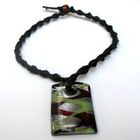Hemp Necklace Black Green Brown Silver For Women