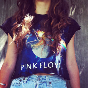 Reworked PINK FLOYD Galaxy crop top shirt