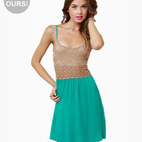 Cute Teal Dress - Lace Dress - Color Block Dress - $44.50