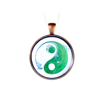 Yin Yang Green Pendant Yoga Antique Copper Pendant