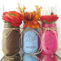 Set of Three, Hand Painted Pint Mason Jars | Rustic - Style Home Decor -- Blue, Brown and Pink Painted Jars