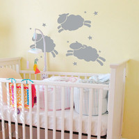 "Jumping Sheep and Stars Nursery Wall Decal 48"" wide x 36"" high -  Vinyl Wall Art Decal Sticker"