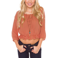 Gwen Embroidered Top - Pumpkin