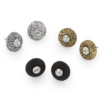 HauteChicWebstore 3 Pairs Mini Stud Earrings Set in Silver, Black and Gold at www.shophcw.com