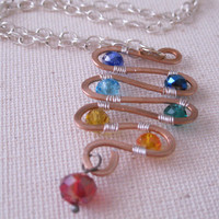 Chakra necklace, copper spiral necklace with rainbow beads, copper necklace, rainbow necklace