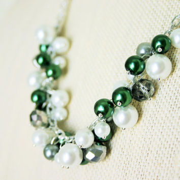 Evergreen & Grey Ombre Statement Cluster Necklace