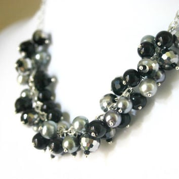 "The ""Night Out Downtown"" Black & Gray Cluster Necklace"