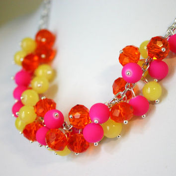 Neon Cluster Necklace - Beaded Womens Jewelry