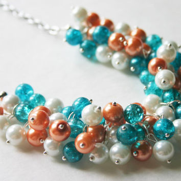 Turquoise & Orange Cluster Necklace - Game Day or Bridesmaid Jewelry