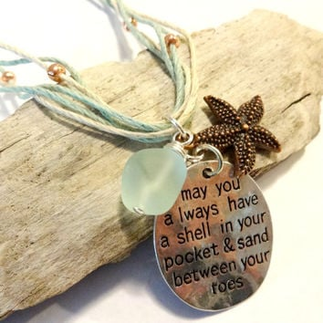 Blue Sea Glass Charm Necklace, Shell In Pocket Inspiration Quote Necklace, Ocean Inspired Seaglass Jewelry, Hemp Necklace