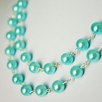 Tiffany Blue Double Strand Pearl Necklace