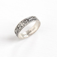 Vintage Sterling Silver Orange Blossom Flower Eternity Ring - Retro Art Deco Style Size 6 Cigar Band Floral Jewelry Hallmarked Uncas