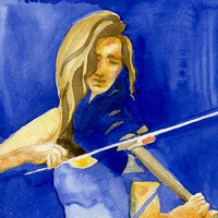 Music Art Blues Violin 8x10 Watercolor Portrait