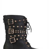 Faux Leather Moto Combat Boot with Studded Straps