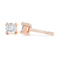 Diamond Accent Solitaire Stud Earrings in 10K Rose Gold