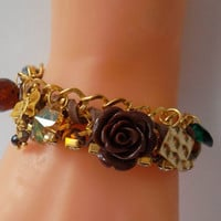 Brown and Golden Bracelet with Swarovski Crystal and Fimo Flower....
