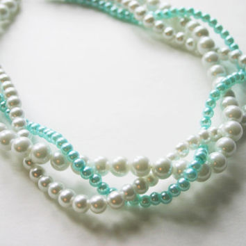 Tiffany Blue & White braided pearl necklace