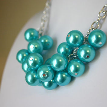 Chunky Women's Tiffany Blue Pearl Statement Necklace