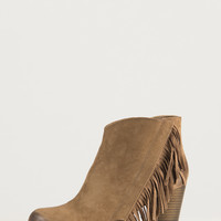 Side Fringe Ankle Booties - Taupe - Taupe /