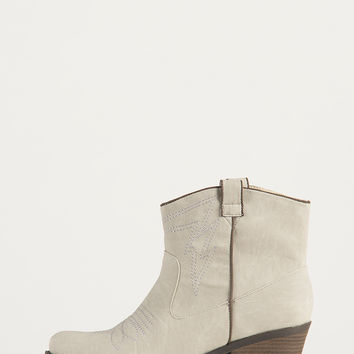 Western Stitched Ankle Boots - White - White /