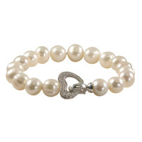 10.0-11.0mm Cultured Freshwater Pearl and 1/10 CT. T.W. Diamond Heart Clasp Bracelet in Sterling Silver - 8.0