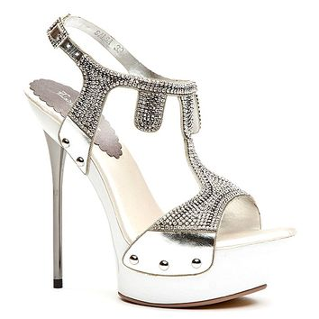 Salsa Open Toe Platform Jeweled Pump Stiletto Heel