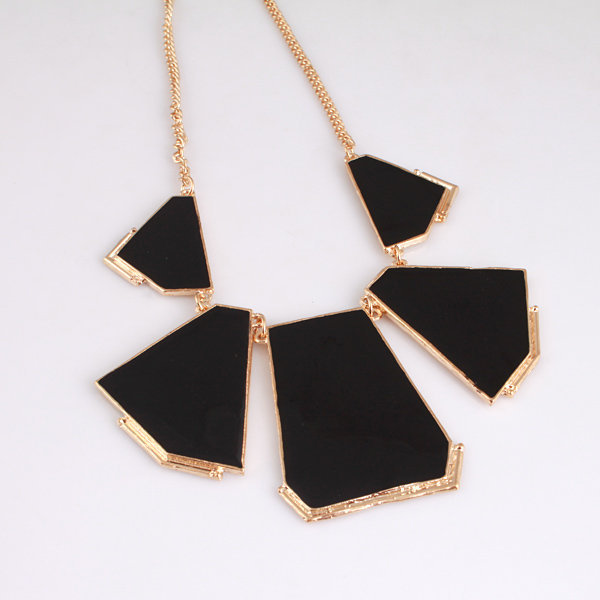 Fashion Black Blocking Bib Necklace at Online Jewelry Store Gofavor
