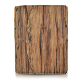 Wooden Lodge Folio Case for Apple iPad 2 and The New iPad - Brown
