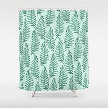 Botanical Leaf Pattern Shower Curtain by Heart of Hearts Designs