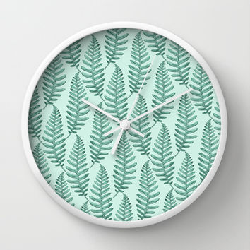 Botanical Leaf Pattern Wall Clock by Heart of Hearts Designs