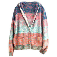Color Contrast Hooded Pink Cardigan [NCSWN0003] - $72.99 :